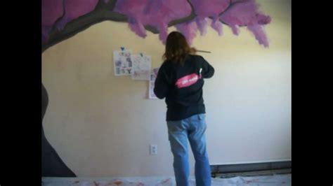 sakura flower mural wall painting youtube japanese cherry blossom tree mural time lapse heavenly
