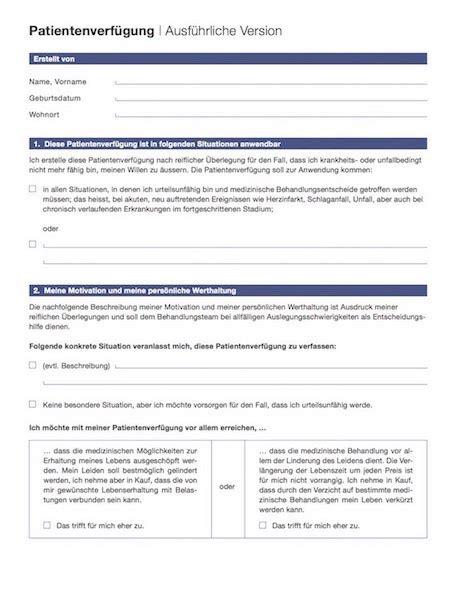 Muster Vorsorgeauftrag Schweiz patientenverf 252 gung formular schweiz muster vorlage ch