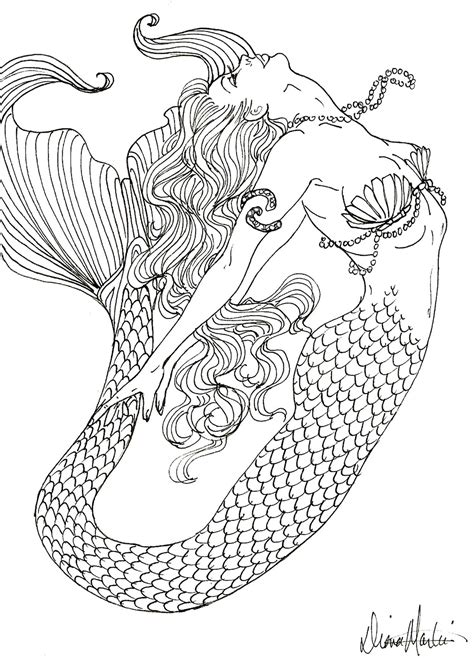 Detailed Mermaid Coloring Pages mermaid colouring the sea fish mermaids