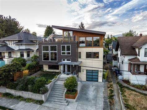 modern split level homes contemporary split level house with views of downtown