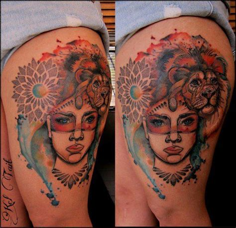 dotwork tattoo artists leeds 29 best lion thigh tattoos with flowers images on