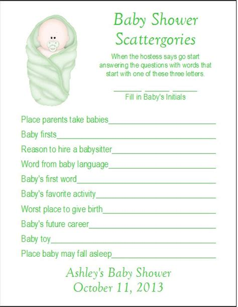 Items similar to 24 Personalized SCATTERGORIES Baby Shower
