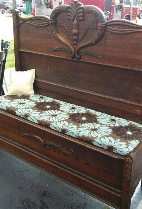 benches made out of headboards bench i made out of an antique bed frame i found in the