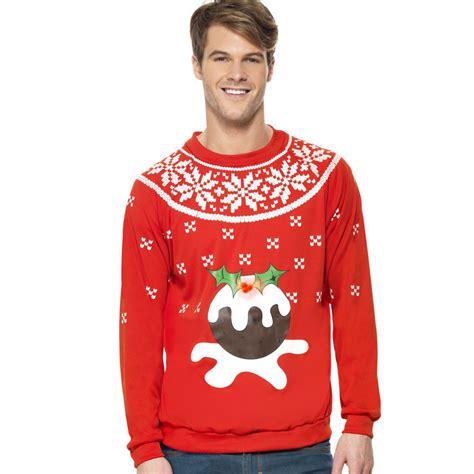 christmas jumper light up pudding novelty adult mens