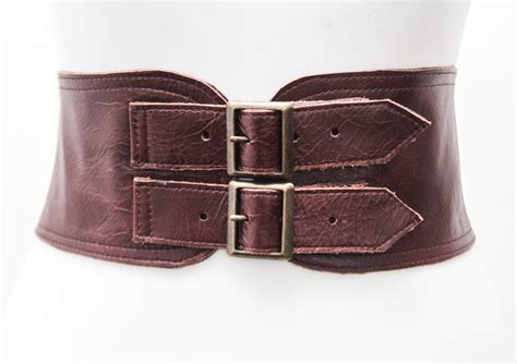 ox blood brown corset leather two gold buckle belt brown
