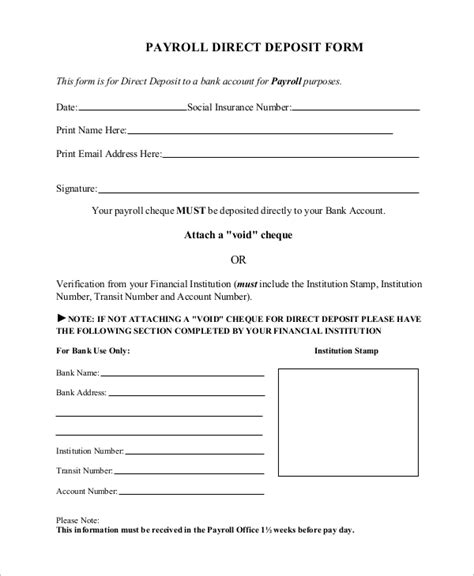 employee direct deposit authorization form templates fillable