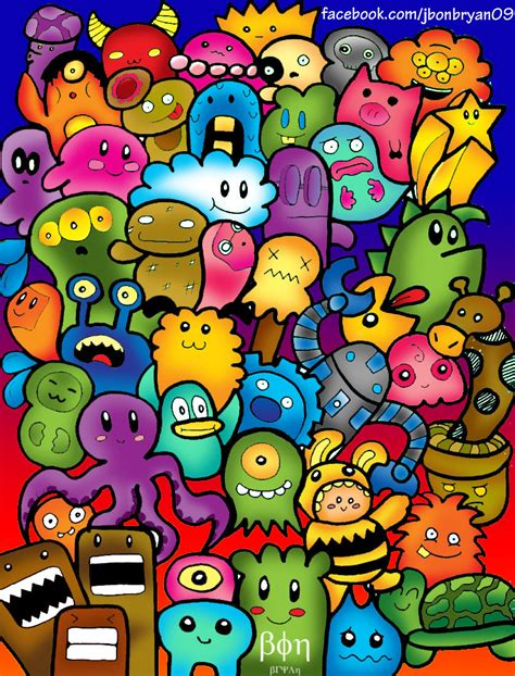 doodle characters monsters colored doodle characters monsters colored doodle