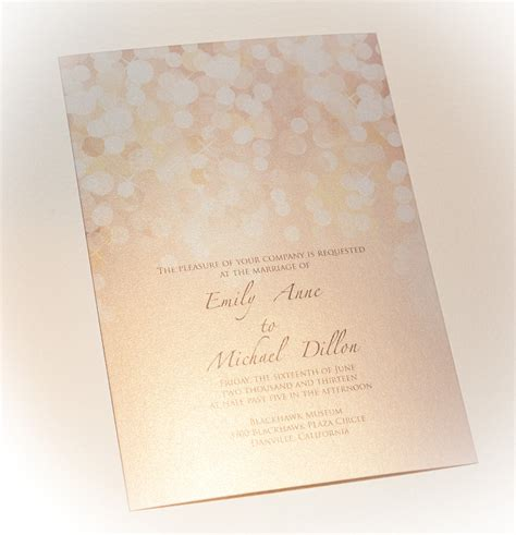 Paper For Wedding Stationery by Gold And Blush Bokeh Wedding Invitation Printed On