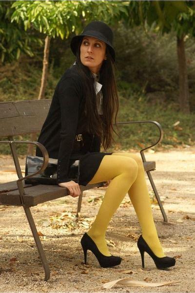 yellow tights yellow tights black dress black hat black heels