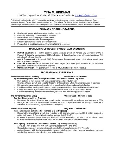 insurance agent resume recentresumes com