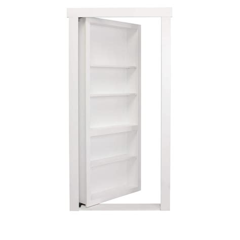 Home Depot White Interior Doors The Murphy Door 28 In X 80 In Assembled White Painted Flush Mount Bookcase Wood Single Prehung