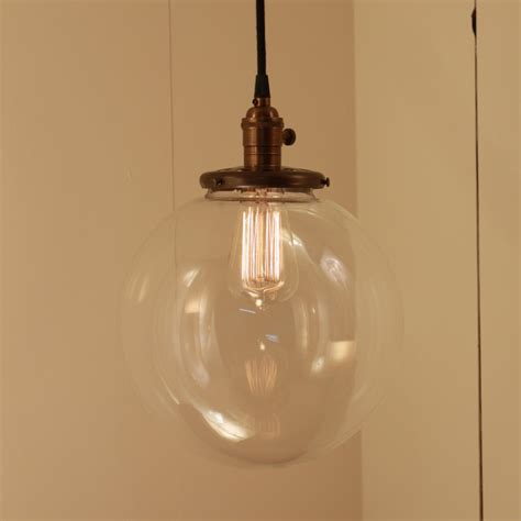 Hanging Pendant Light Fixture With Xtra Large Glass Globe Large Glass Pendant Light