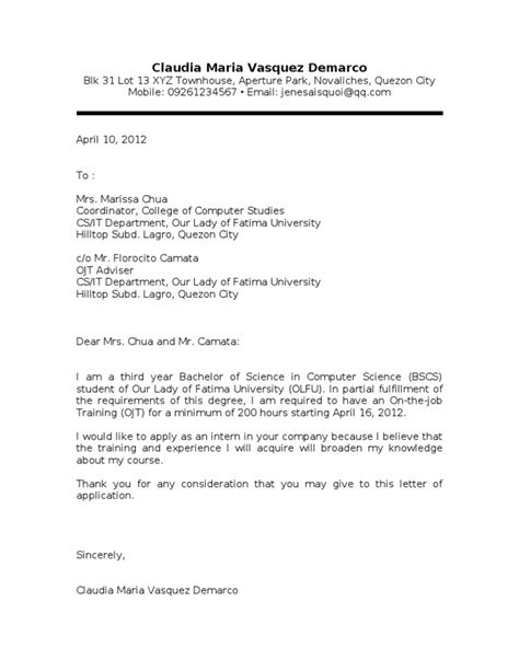 application letter for ojt bscs ojt application letter sler