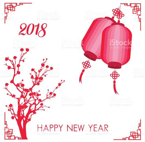 new year in china 2018 happy new year 2018 card year of stock vector