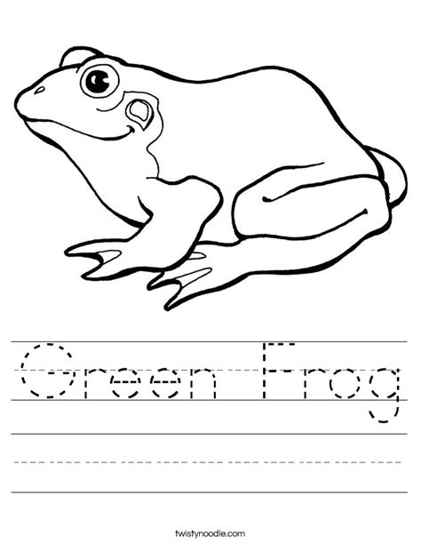 frog coloring worksheet green frog worksheet twisty noodle