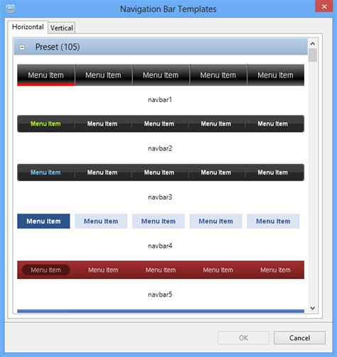 Website Realizer Software Screenshots Navigation Bar Templates