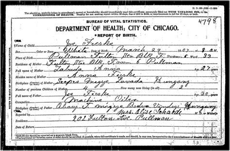 Cook County Birth Records Search Joseph C Fecske