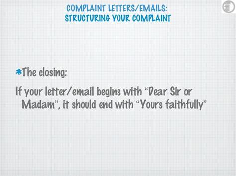 Complaint Letter End ending a complaint letter cover letter sle 2017