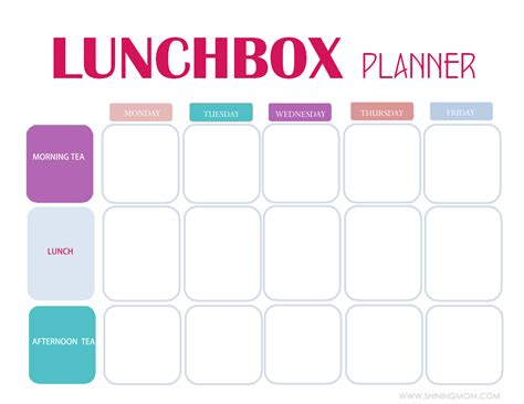 printable lunch meal planner free printable easy 5 day lunchbox planner