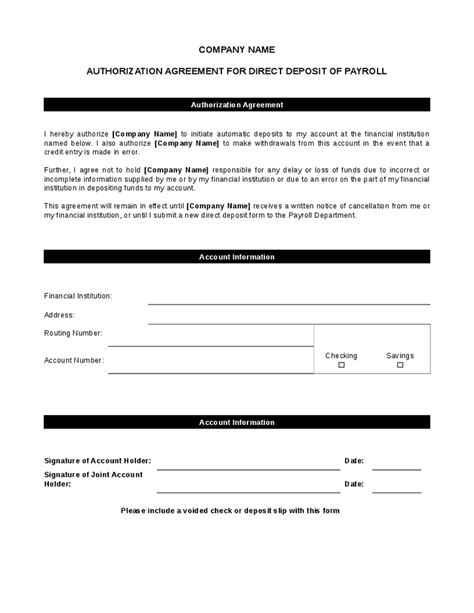 5 Direct Deposit Form Templates Excel Xlts Atm Contract Template