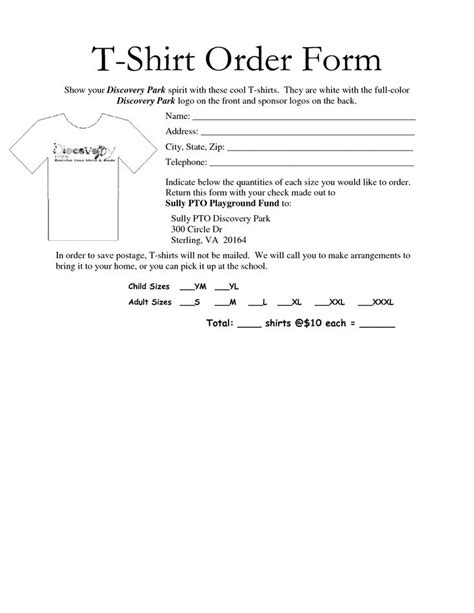 t shirt order form template free 35 awesome t shirt order form template free images