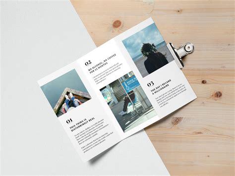 set of tri fold brochure mockups mockupworld
