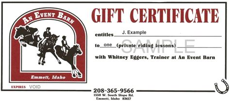 Info An Event Barn Horseback Gift Certificate Template