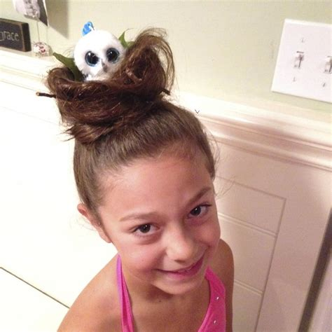 wakiest easiest hairstyles crazy hair day bird nest with beanie boo owl in it so