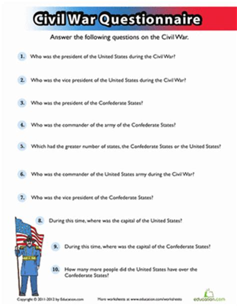 civil war 8th grade reading worksheets civil war quiz worksheet education com