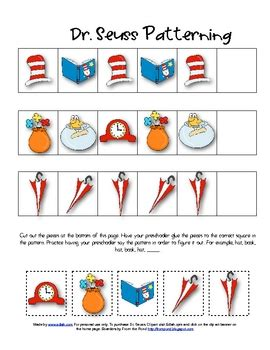 dr seuss printable preschool activities dr seuss patterning and tons of other dr seuss
