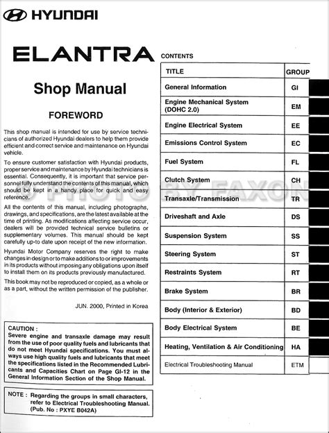 car repair manuals download 2001 hyundai elantra on board diagnostic system 2001 hyundai elantra repair shop manual factory reprint