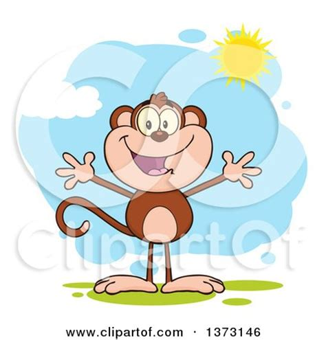 Happy Monkey Blue clipart of a black and white happy monkey mascot