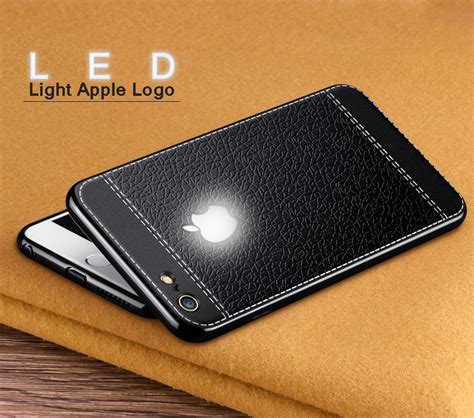 vaku 174 apple iphone 8 plus leather stitched led light illuminated apple logo 3d designer