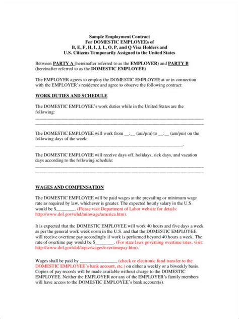20 Employee Contract Sles Templates Sle Templates Employment Contract Template Uk