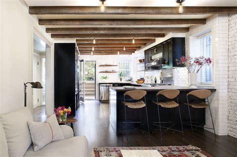 black white  warm kitchen becki owens