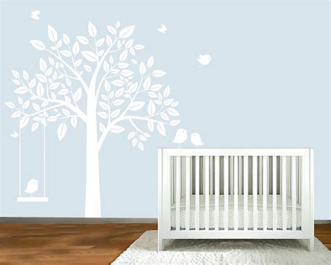 White Tree Wall Decals For Nursery Wall Decal White Silhouette Tree Nursery Wall By Modernwalldecal