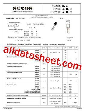 bc5508 transistor bc558 datasheet pdf secos halbleitertechnologie gmbh