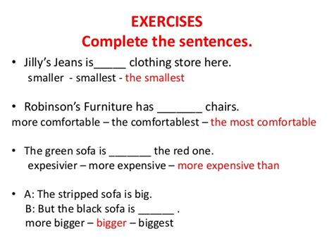 comfortable sentence comparatives and superlatives adjectives