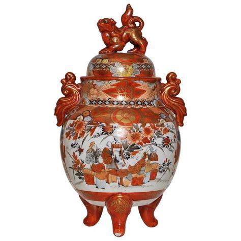Kutani L by Japanese Kutani Porcelain Lidded Jar Vase In Black