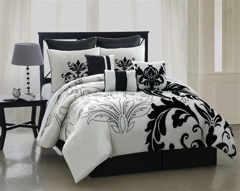 black and off white toile floral cotton comforter set twin