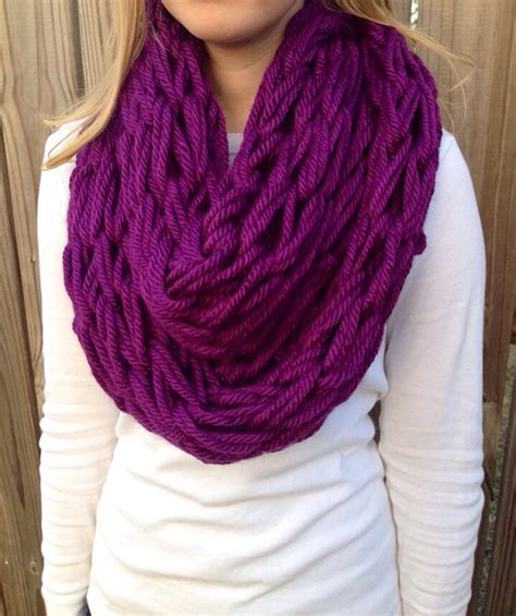 how to arm knit an infinity scarf items similar to purple arm knit scarf chunky infinity