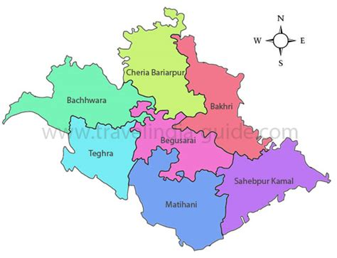 map of begusarai assembly elections coverage for begusarai district of bihar