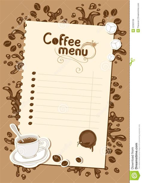 List Coffee Toffee menu list for chocolate and coffee royalty free stock
