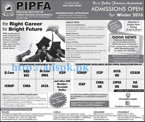 Mba Missouri Open Admissions by New Admissions Open Winter 2016 Pipfa For B Bba B Sc M