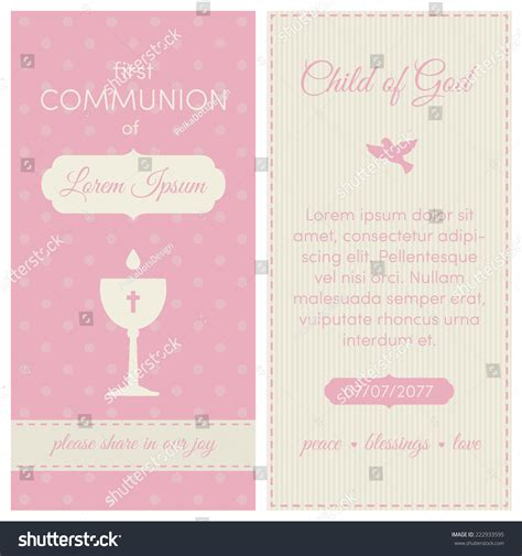 communion invitation template communion invitation template pink stock