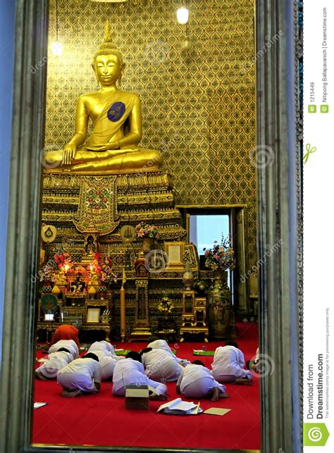 evening ceremony in a buddhist holy day royalty free stock