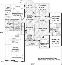 2000 Square Foot Floor Plans by Traditional Style House Plan 4 Beds 2 5 Baths 2000 Sq Ft