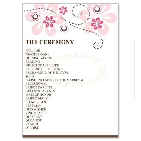 Wedding Reception Programs Exles Mini Bridal Wedding Reception Program Template 2