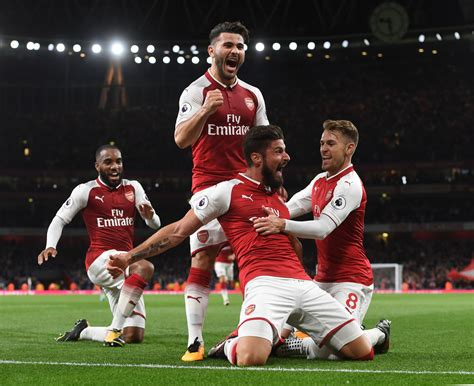 arsenal team arsenal 4 3 leicester in pictures post match gallery