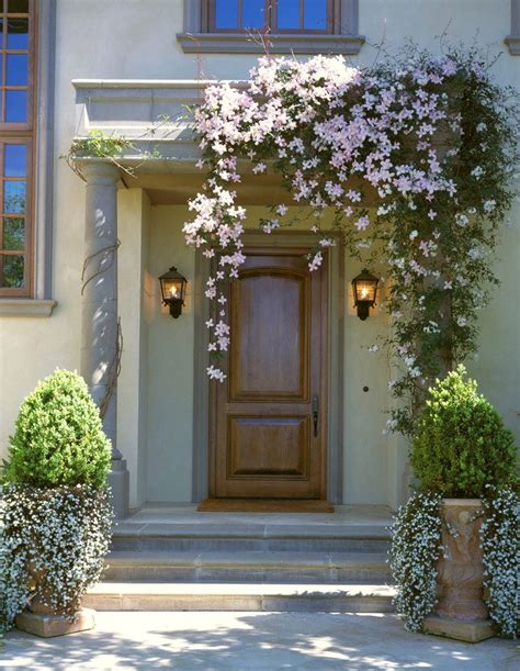 Front Door Trees Entrance Plants Entry Mediterranean With Tuscan Style Villa Pink Flowers Tuscan Style Villa